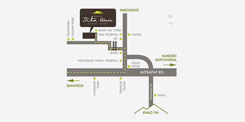 Baan Sita Wan Pakchong-Khaoyai-Map Location